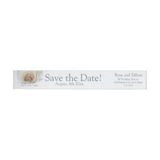 Save the Date Engagement ring and rose Wrap Around Label