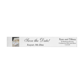 Save the Date Engagement ring in box Wrap Around Label