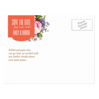 Save the Date English Rose Garden Party Tea Postcard
