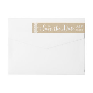 Save the Date Envelope Labels | Lace and Kraft Wraparound Return Address Label