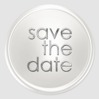 Save the Date Envelope Seal White Pearl Classic Round Sticker