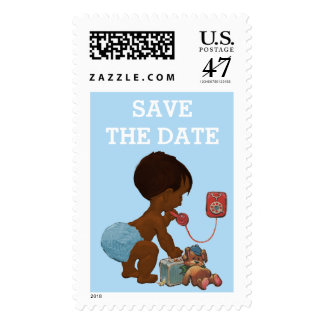Save The Date Ethnic Boy On Phone Baby Shower Postage