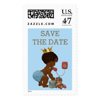 Save The Date Ethnic Prince on Phone Baby Shower Postage