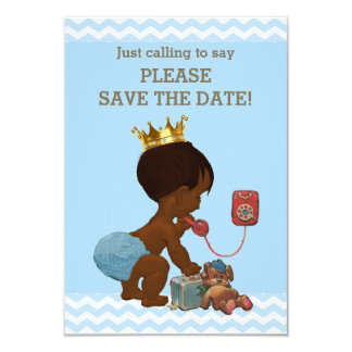 Save The Date Ethnic Prince on Phone Gray Blue Card