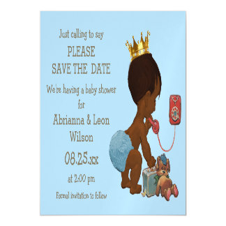 Save The Date Ethnic Prince on Phone Gray Blue Magnetic Card