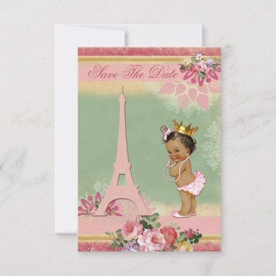 Save The Date Ethnic Princess Paris Baby Shower Zazzle