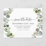"""Save the Date Eucalyptus Greenery Succulent Announcement Postcard<br><div class=""""desc"""">Eucalyptus Greenery Succulent Botanical Watercolor Spring Wedding Save the Date Card on white background - includes beautiful and elegant script typography with modern botanical leaves and greenery for the special Wedding day celebration.</div>"""