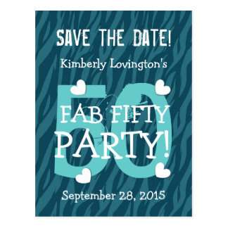 Save the Date FAB 50 Birthday Party V50 TEAL ZEBRA Post Card