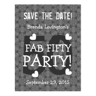 Save the Date FAB 50 Birthday V50B SILVER Post Cards