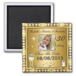 Save The Date Fabulous 30 Photo Gold Glam Birthday 2 Inch Square Magnet