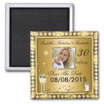 Save The Date Fabulous 30 Photo Gold Glam Birthday Fridge Magnets