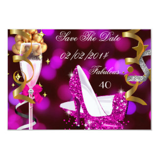 Save The Date Fabulous 40 Hot Pink Gold Bubbles 3.5x5 Paper Invitation Card