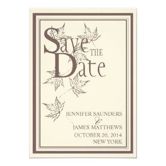 Save the Date Fall Leaves Wedding Announcement