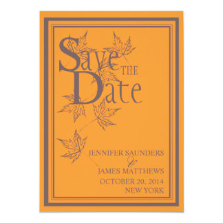 Save the Date Fall Orange Wedding Announcement