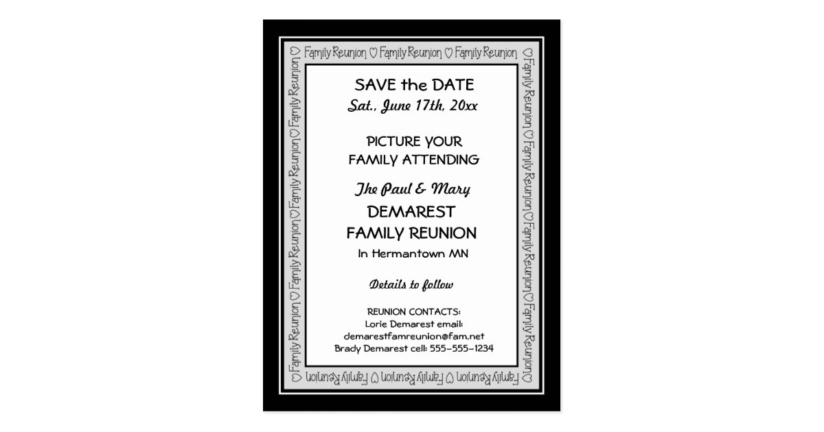Family Reunion Save The Date Postcards | Zazzle