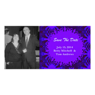Save the Date Fancy Dark Purple Blue Abstract Card