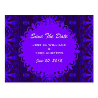 Save the Date Fancy Dark Purple Blue Abstract Postcard
