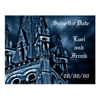Save the Date fantasy blue castle post card