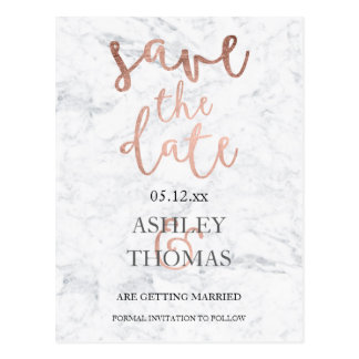 Save the Date faux Rose gold script white marble Postcard