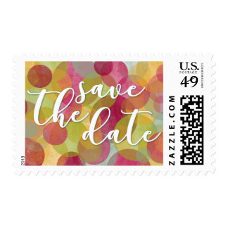 """Save the Date""/ Festive, Colorful Bubble-Circles Postage"