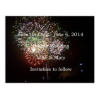 Save the date fireworks postcard