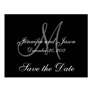 Save the Date, First Names, Initial, Monogram Postcard