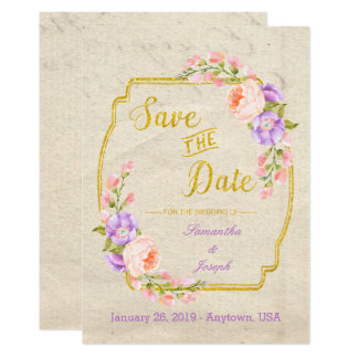 Save the Date Floral and Gold Card