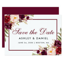 Save The Date Floral Burgundy BB Card