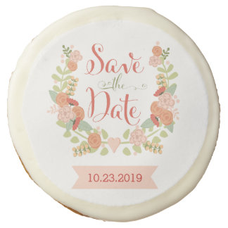 Save the Date floral cookies Sugar Cookie
