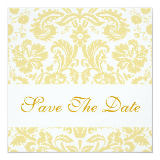 Save The Date Floral Cream White Damask Card