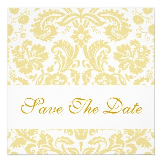 Gold Cream Damask Save the Date Cards
