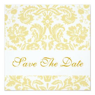 Save The Date Floral Cream White Damask 5.25x5.25 Square Paper Invitation Card