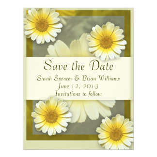 Save the Date Floral Daisy Announcement