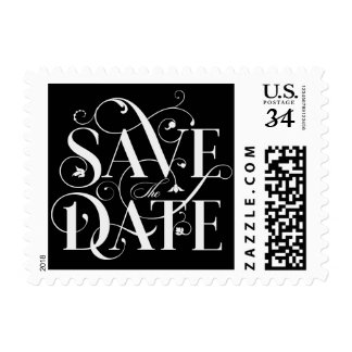 Save the Date Floral Flourish Typography Postage