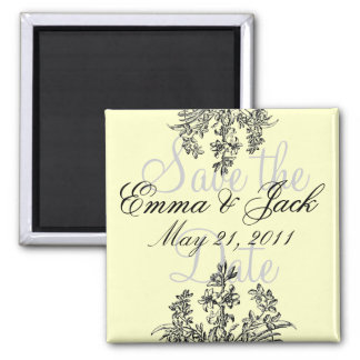 Save the Date, Floral Monogram 2 Inch Square Magnet