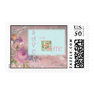 SAVE THE DATE FLORAL POSTAGE