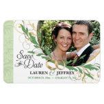 Save the Date - Floral Sage Vintage Photo Magnets Magnets