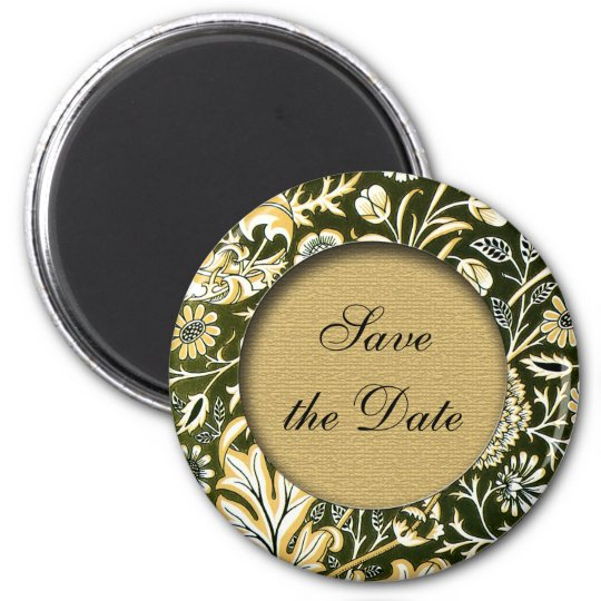 Save the date floral victorian magnet