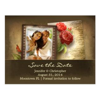 save the date floral vintage photo postcard