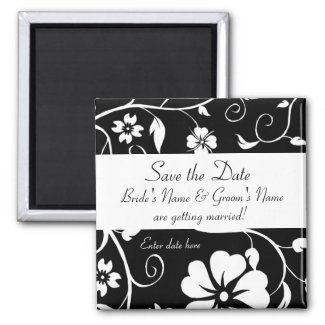 Save the date - Floral Wedding Mag... - Customized magnet