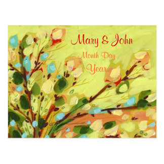 Save the Date Floral Yellow Willow Postcard