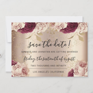Save The Date  Florals Rose Gold Roses Marsala