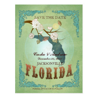 Save The Date - Florida Map With Lovely Birds Postcard