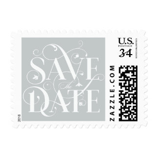 Save the Date Flourish Typography - Dove Gray Postage