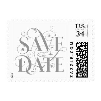 Save the Date Flourish Typography - Gray and White Postage