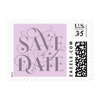 Save the Date Flourish Typography - Lilac Purple Postage