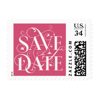 Save the Date Flourish Typography - Melon Pink Postage