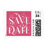 Save the Date Flourish Typography - Melon Pink Stamp