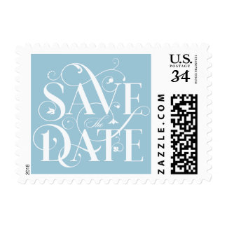 Save the Date Flourish Typography - Soft Sky Blue Postage