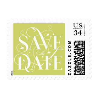 Save the Date Flourish Typography - Spring Green Postage
